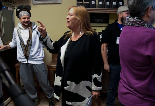 Jane Sanders, wife of presidential candidate Bernie Sanders, makes a campaign visit to The Bean Bag Coffee and Tea Shop Wednesday, Feb. 26, 2020 in Nashville, Tenn.