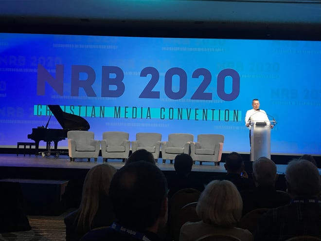 American pastor Andrew Brunson speaks Tuesday at the  National Religious Broadcasters Christian Media Convention held in Nashville.