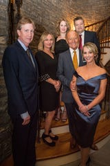 Brett and Amy Tarter, Tyler and Don Moody, and Mark and Emily Humphreys attend the Ballet Ball Patrons Party at the home of Sylvia Roberts.