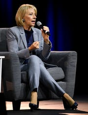 U.S. Secretary of Education Betsy DeVos addresses the NRB 2020 Christian Media Convention at the Gaylord Orpyland Resort and Convention Center Wednesday, Feb. 26, 2020 in Nashville, Tenn.
