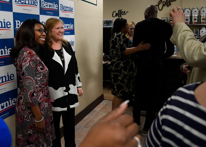 Alette Davis poses for a picture with Jane Sanders, as she makes a campaign visit to The Bean Bag Coffee and Tea Shop for her husband Bernie Sanders Wednesday, Feb. 26, 2020 in Nashville, Tenn.