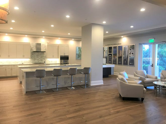 Omega Sales Center within Bonita Bay is showcasing finish selections available in residences at its 27-floor Omega high-rise tower, including a completely finished full-sized kitchen.