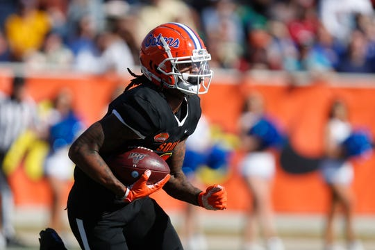 South wide receiver Tyrie Cleveland of Florida runs during the first half of the Senior Bowl on Saturday, Jan. 25, 2020, in Mobile, Ala. Cleveland is one of the former UF wideouts taking part in this week's NFL Scouting Combine.