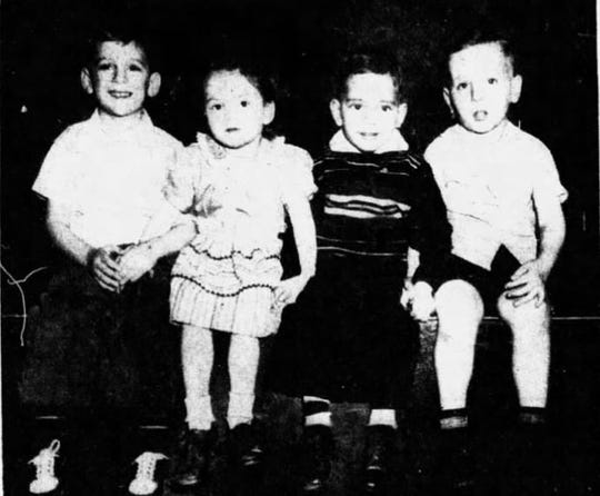 Newark's leap year babies, who celebrated their first birthday in four years on Feb. 29, 1948. From right to left are Jimmy Updegraff, Beverly Sue Wickham, Louis Edward Rico and Freddie Ray Maidel.