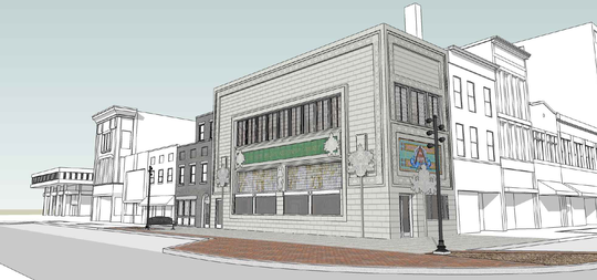 A rendering of the Sullivan Building on the corner of West Main and North Third streets, as it will appear when restoration is completed. The restored structure will add the corner entrance of the building, which is now cut off. It is being rebuilt and restored to its original shape.