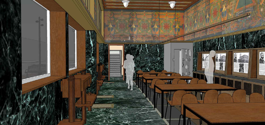 The interior of the Sullivan Building, as it will appear when restored in 2021.