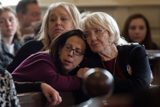 Dolores Williamson, on right, lost her daughter Paramus school teacher Jennifer Williamson in a school bus crash, is comforted during witness impact during the sentencing of Hudy Muldrow, the Paramus school bus driver in the crash on Rt. 80 in Mount Olive. Muldrow's sentencing was held in Morris County Superior Court on February 26, 2020.