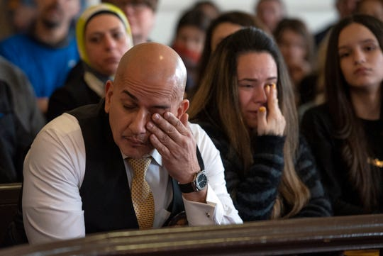 Joevanny Vargas, Lorena Vargas and Madison Vargas listen to witness impact statements regarding the death of Miranda Vargas, their daughter and Madison's twin sister at the sentencing of Hudy Muldrow on February 26, 2020 in Morris County Superior Court.