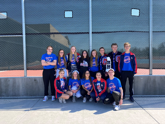 The Las Cruces High School boys and girls swimming team pose for a photo before competing in the State Championships in Albuquerque.