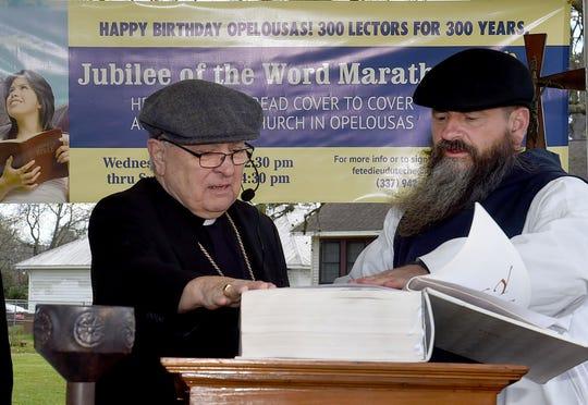Bishop Michael Jarrelll, left, and Rev. Michael Champagne