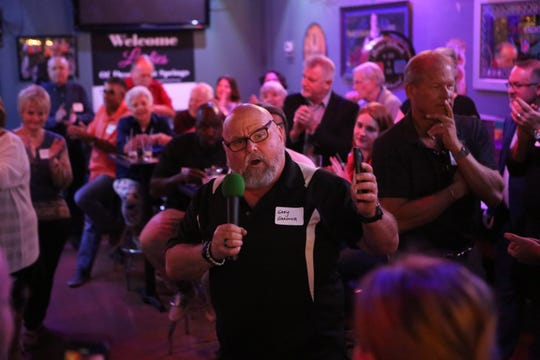 Desert Hot Springs Council Member Gary Gardner speaks highly of Mayor Scott Matas at a public event at Playoffs Sports Lounge in Desert Hot Springs, Calif., on February 25, 2020.