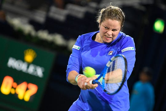 Kim Clijsters pictured in action during a game between Belgian Kim Clijsters and Spanish Garbine Muguruza in the women's singles first round at the 2020 Dubai Tennis Championships, in Dubai, United Arab Emirates, Monday 17 February 2020.