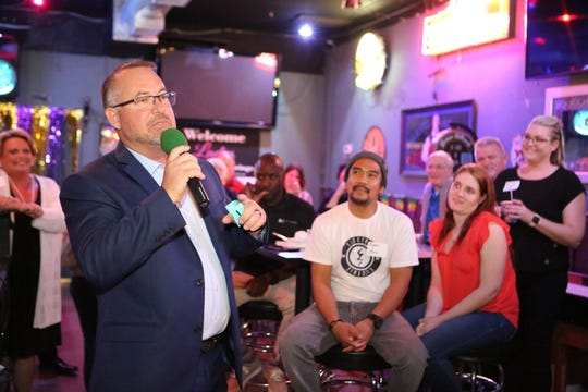 Desert Hot Springs Mayor Scott Matas announces he will run for one more term at a public event at Playoffs Sports Lounge in Desert Hot Springs, Calif., on February 25, 2020.