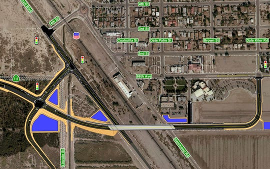 This map shows the proposed site for an Avenue 66 grade separation project in Mecca. Construction is scheduled to begin in April and last 18 months.