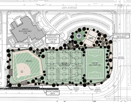 This diagram shows a sports park proposed for Avenue 66 and Dale Kiler Road in Mecca. The project recently acquired a $5.8 million state grant, lawmakers announced February 26, 2020.