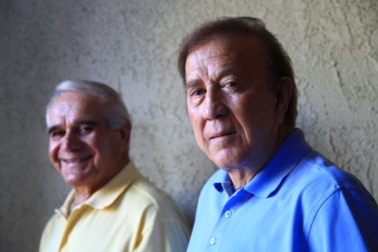 Sam Boghosian, left, was the offensive line coach for two Super Bowl-winning teams for the Oakland/Los Angeles Raiders under head coach Tom Flores, right. Flores recalled Boghosian, who died Sunday at 88, as a top offensive line and a good friend.
