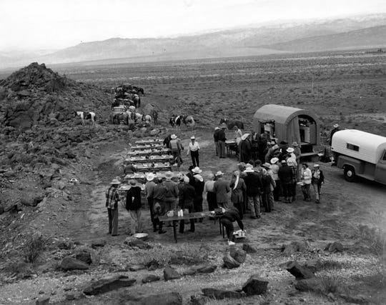Desert Riders became an elite group of stone equestrians and Hollywood notables that rode and dined all over the high and low desert with their famous chuck wagon parties.