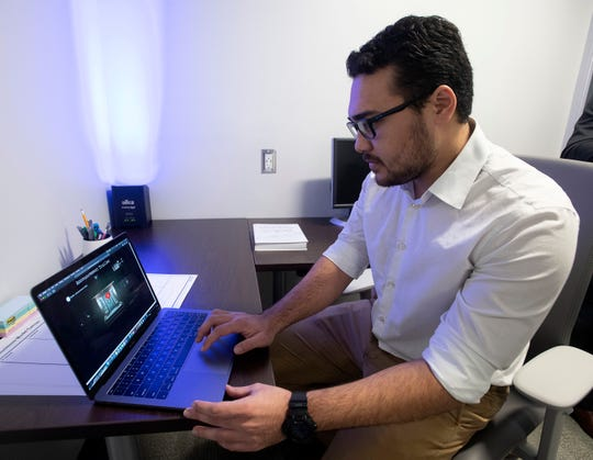 David Franklin works Wednesday on developing his horror video game at the new Commons Entrepreneurship Incubator at the University of West Florida.