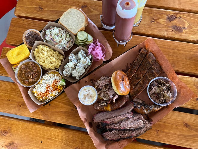 The full complement of offerings at Eric's Family Barbecue in Avondale.