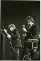 Robbie Robertson and Bob Dylan in a scene from 'Once Were Brothers.'