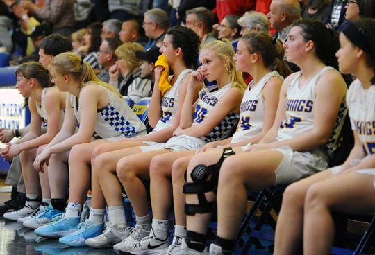 The faces of the Norhern Lebanon starters show lots of disappointment after they were pulled from the game with just a minute left to play in the fourth quarter.  Photo Jeff Ruppenthal