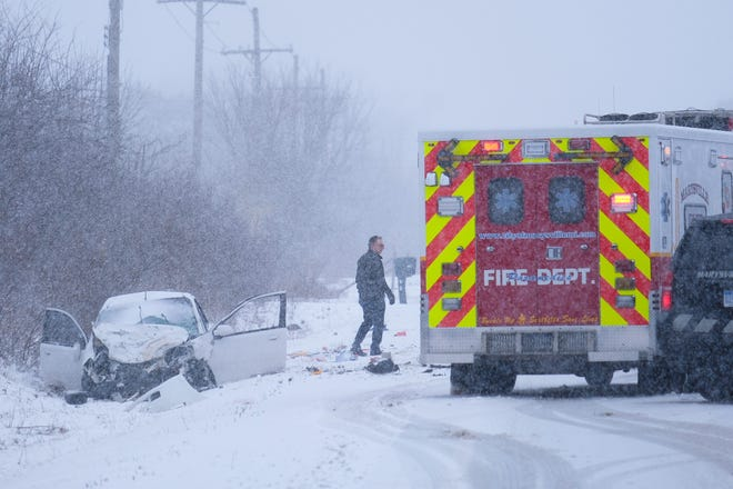 Range Road north of Cuttle Road on the border of Marysville and St. Clair Township was closed following a crash.