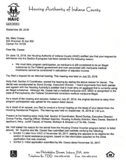 Letter sent to Mary Cease denying her Section 8 housing voucher.