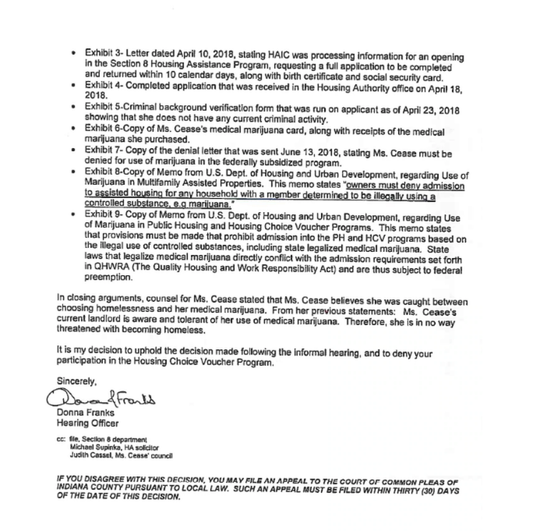 Continuation of letter sent to Mary Cease denying her Section 8 housing voucher.
