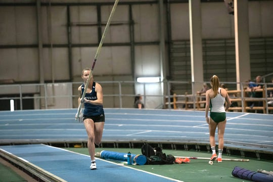 Nevada's Gaby Palmer is the leading vaulter heading into the women's pole vault competition at the Mountain West indoor finals.