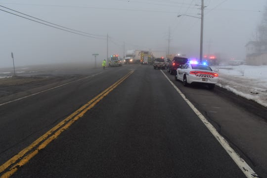 First responders on scene of a fatal collision on Route 39 in Castile, Wyoming County, on Feb. 25, 2020.