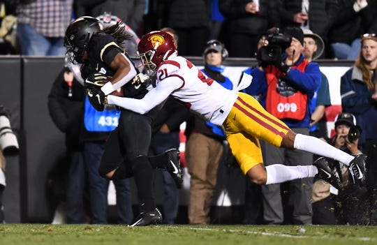 Laviska Shenault Jr. caught nine passes for 172 yards and a touchdown against USC last October.