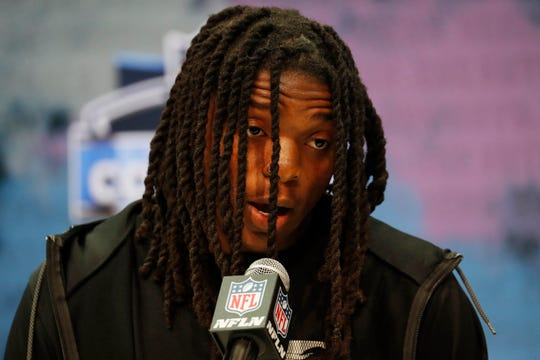 Colorado Buffaloes wide receiver Laviska Shenault speaks to the media during the NFL Combine at the Indiana Convention Center.