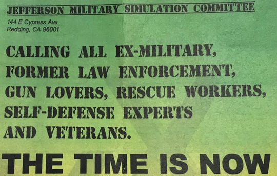 A flier was sent to Redding and Shasta County residents inviting them to a Jefferson Military Simulation Committee.
