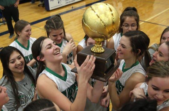 The Blackwell girls basketball team celebrates a playoff win against Water Valley on Tuesday, Feb. 25, 2020.