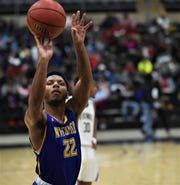Wicomico's Ronnie Satchell takes a shot at the basket during the Bayside Championship on Tuesday, Feb. 25, 2020.