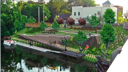A rendering of the Lewes-Rehoboth Canal Improvement project shows switchbacks that are accessible by people with disabilities and a dock that can accommodate two 30-foot pontoon boats, a water taxi service, canoes and kayaks. The pictured kayak launch will not be included in the approved construction bid.