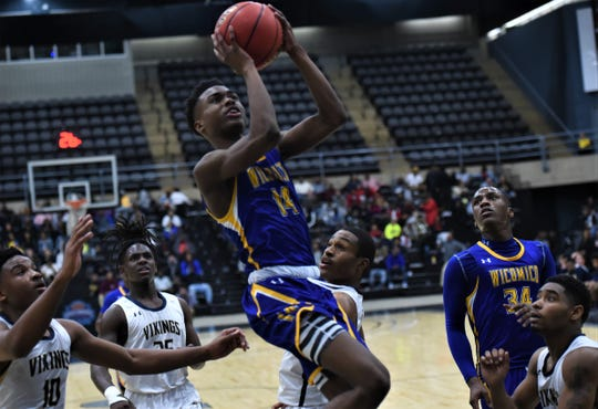 Wicomico's Antwan Wilson puts up a shot during the Bayside Championship on Tuesday, Feb. 25, 2020.