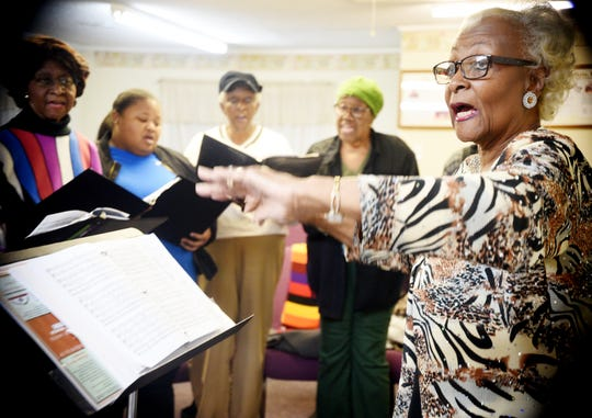 Artistic Director Patricia Britton-Hall rehearses with the New Dimensions Choir for the upcoming Annual Bobby Wiggins Festival of Spirituals.