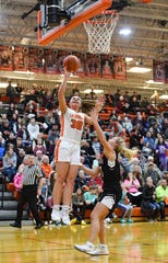 Rianna Fillipi of Lennox makes a basket during a game against Dakota Valley on Tuesday night, Feb. 25, at Lennox High School.