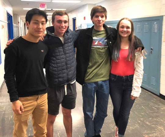 Fort Defiance's state championship scholastic bowl team — Roth Landes, Hugh Shields, Will Marden and Jenna Senger.