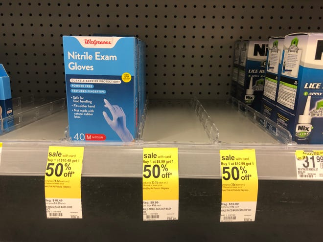 Medical masks were sold out at the Walgreens in Staunton on Feb. 26, 2020.
