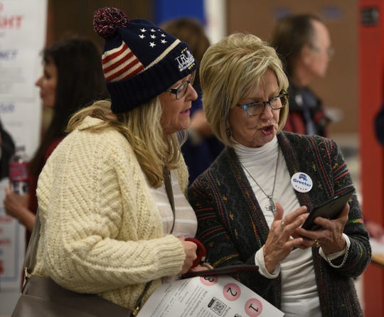 Voters are shown a new check-in procedure at the Minnesota Senate District 14 Republican caucus Tuesday, Feb. 25, 2020, at Apollo High School.