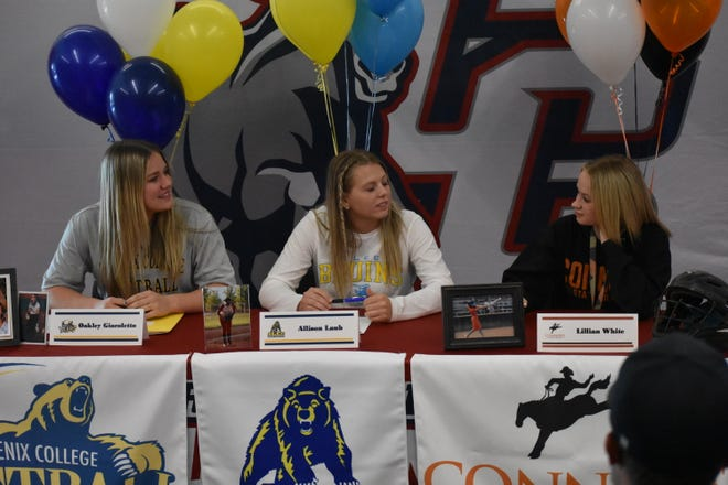 Three Crimson Cliffs softball players, Allie Laub, Lilly White and Oakley Giacoletto, signed to play at the college level on Tuesday, February 25th, 2020.