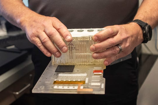 The chip used to test swabbed DNA with the Rapid DNA system at the Leon County Sheriffs Office.