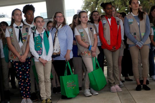 Girl Scouts from across the state listen as CEO of the Girl Scouts of Gateway Council Mary Anne Jacobs speaks during Girl Scouts Day at the Capitol Wednesday, Feb. 26, 2020.