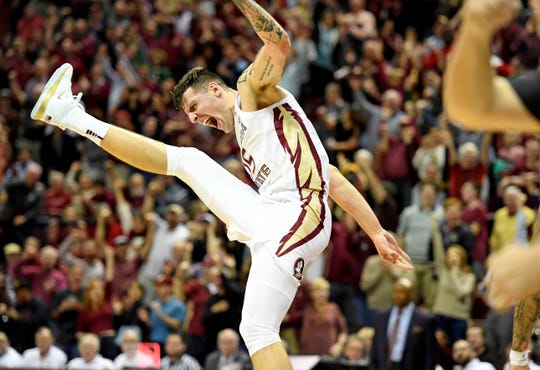 Feb 24, 2020; Tallahassee, Florida, USA; Florida State Seminoles center Dominik Olejniczak (15) celebrates during the second half of the game against the Louisville Cardinals at Donald L. Tucker Center. Mandatory Credit: Melina Myers-USA TODAY Sports