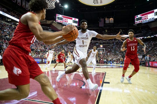 Florida State forward RaiQuan Gray (1) tries to block an inbound pass from Louisville during a full court press in the second half of an NCAA college basketball game in Tallahassee, Fla., Monday, Feb. 24, 2020. Florida State defeated Louisville 82-67. (AP Photo/Mark Wallheiser)