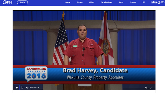 Screen shot of WFSU's Bandwagon program during the 2016 election. Pictured is Brad Harvey, who went on to win the Wakulla County property appraiser's race.