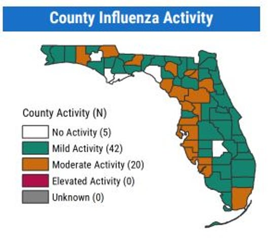 Influenza activity throughout the state of Florida from Feb. 9 to Feb. 15, according to records from the FDOH.