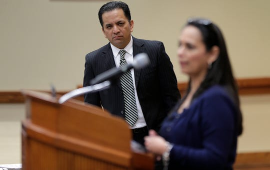 Socorro Independent School District Superintendent Jose Espinoza looks on as Assistant Superintendent of Schools Carmen Crosse  talks about the results of an internal audit that found 29 students in the district had graduated without meeting graduation requirements.